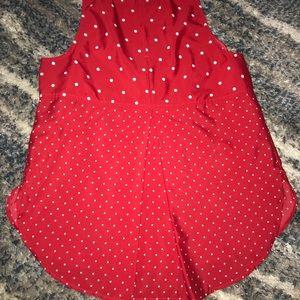 Faded Glory Tops - Red & white polka dot rayon tank